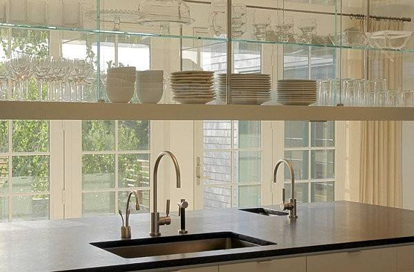 Glass Shelving Cabinetry Bright Kitchen