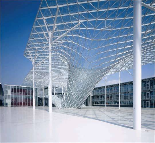 Glass Steel Structure Above Walkway Reminiscent