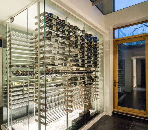 Glass Surround Wine Cellars Contemporary Cellar
