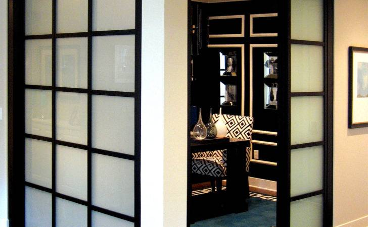 Glass Wall Slide Doors Frosted Back Frame