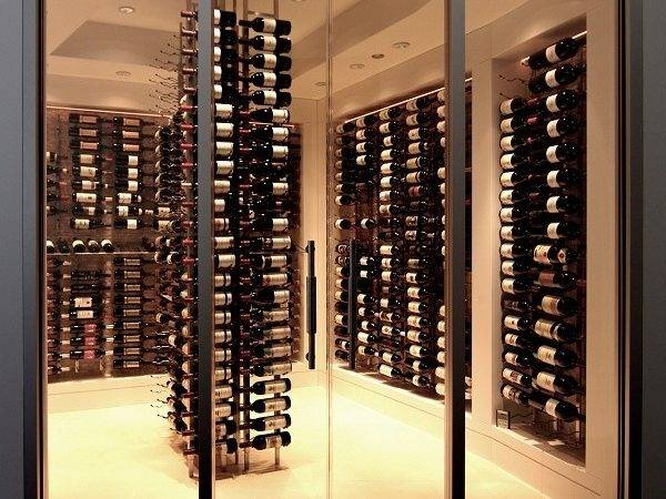 Glass Wine Cellar Very Modern Clean