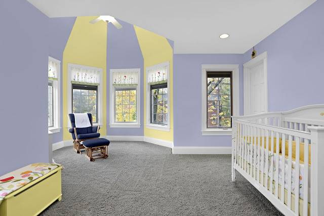 Glidden Brilliance Painted Baby Room Spring Bluebell Early