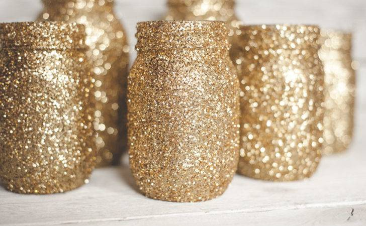 Gold Gitter Mason Jar Glitter Wedding Decor Vases