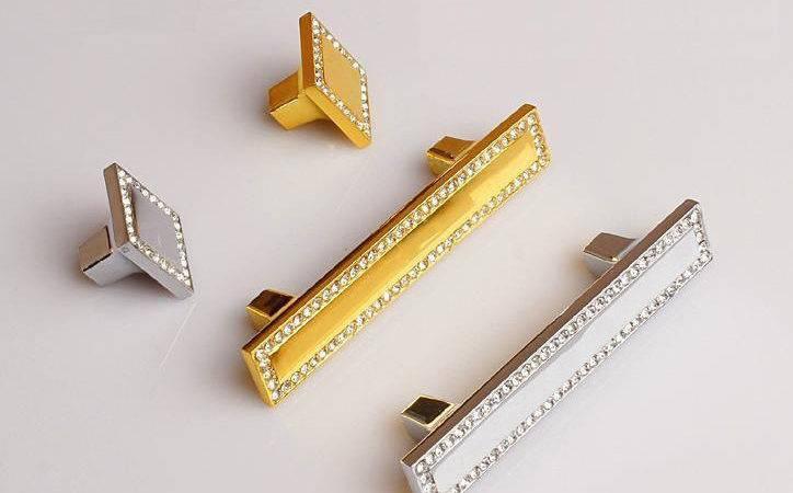 Gold Glass Dresser Pulls Drawer Pull Handles Crystal Cabinet