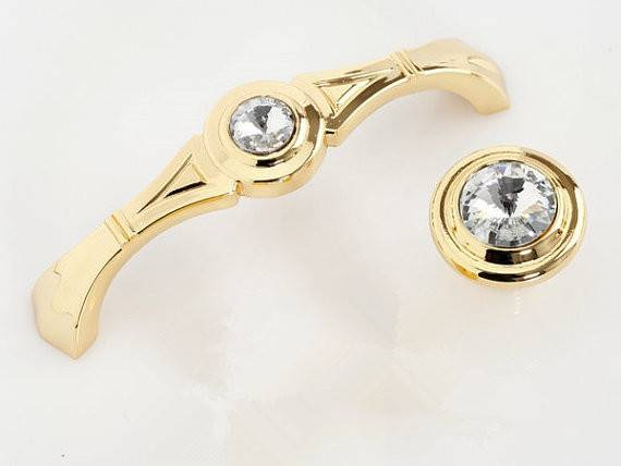 Gold Glass Dresser Pulls Drawer Pull Handles Crystal Kitchen Cabinet