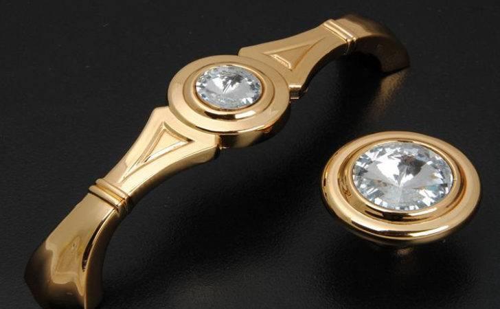 Gold Glass Dresser Pulls Drawer Pull Handles Crystal Lbfeel