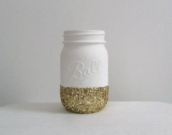 Gold Glitter Mason Jar Bright White Perfect Weddings Makeup Brushes