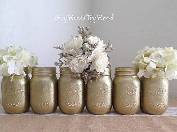 Gold Glitter Mason Jar Set Wedding Centerpiece Bridal Shower Baby