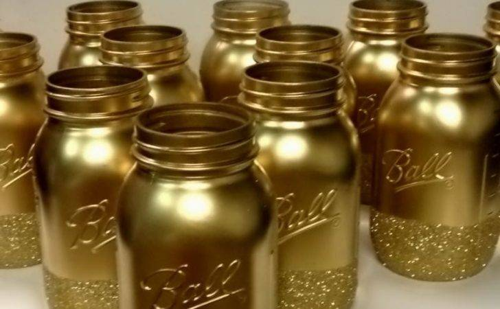 Gold Glitter Mason Jar Wedding Centerpiece Set