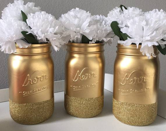Gold Glitter Mason Jars Dipped Holiday Decor Party
