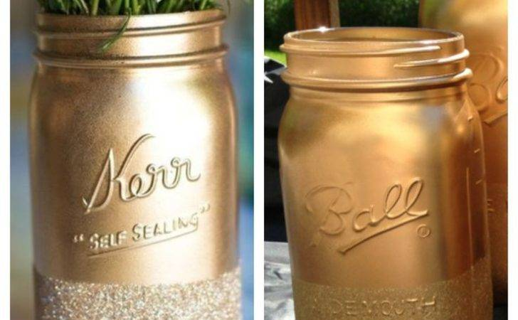 Gold Glitter Mason Jars Favorite Things Pinterest