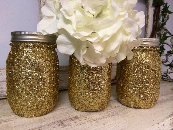 Gold Glitter Mason Jars Perfect Gifts Home Decorations Parties