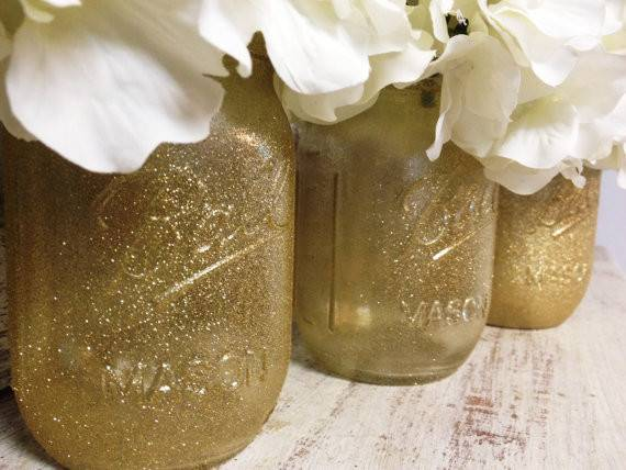 Gold Glitter Mason Jars Perfect Gifts Home Samanthabugglin