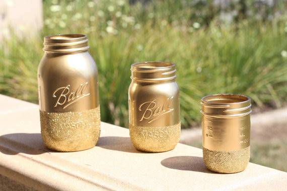 Gold Glitter Mason Jars Set Dipped
