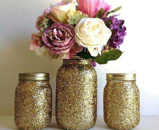 Gold Glittered Mason Jars Home Pinterest