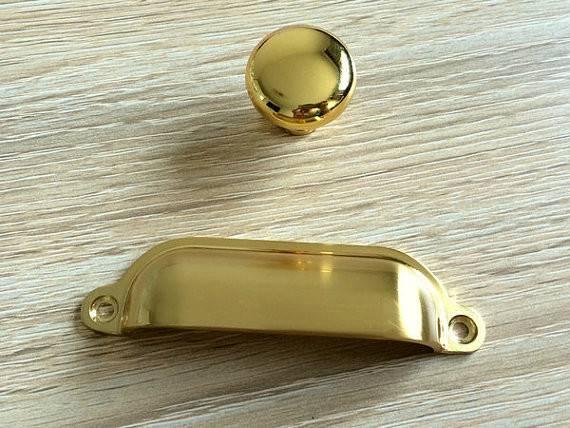 Gold Knobs Dresser Drawer Pulls Handles Kitchen Cabinet Knob Cup