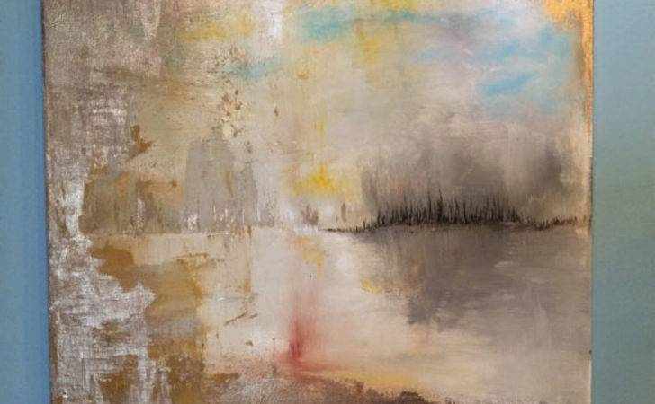 Gold Leaf Painting Abstract Art Oil Pin