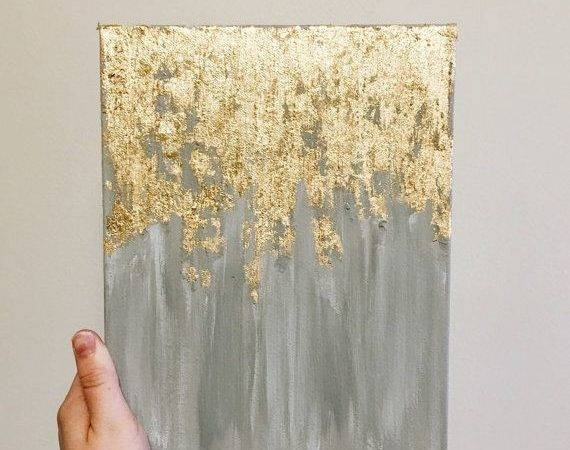 Gold Leaf Painting Abstract Wall Art Heavy