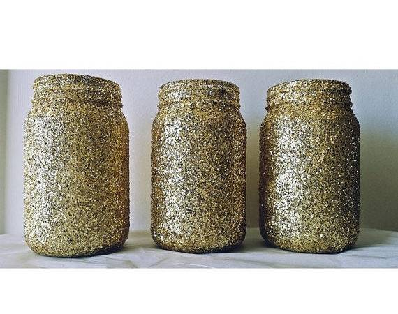 Gold Mason Jars Glitter Wedding Candle