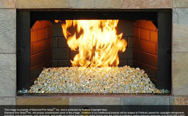 Gold Reflective Nugget Diamond Fire Glass
