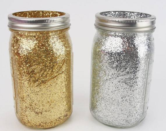 Gold Silver Glitter Wide Quart Mason Jars Wedding Bridal Shower