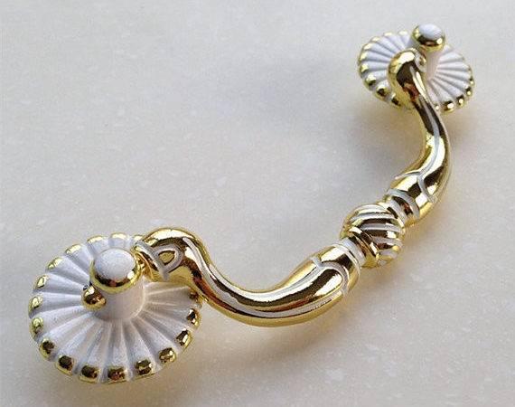 Gold White Drawer Pulls Handles Dresser Knobs Vintage