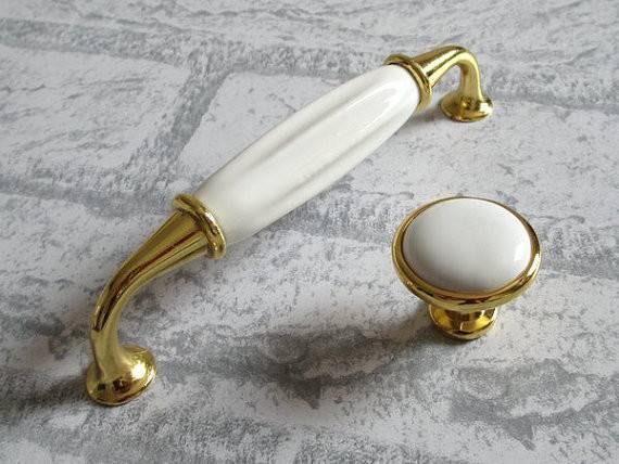 Gold White Knobs Dresser Pulls Drawer Pull Handles Ceramic Kitchen
