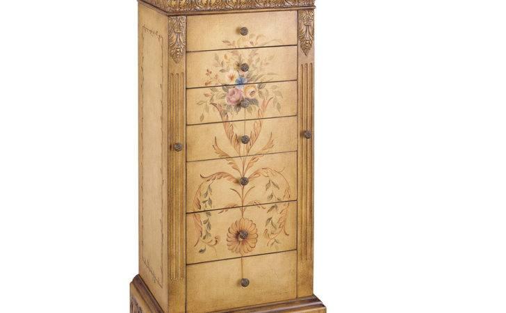 Golden Antique Parchment Floorstanding Jewelry Armoire Lowes
