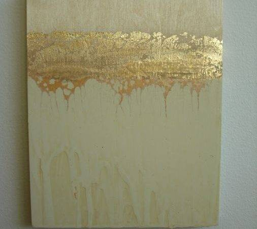 Golden Strata Abstract Painting Gold Leaf Panel Simple