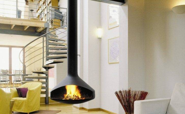 Gorgeous Freestanding Suspended Fireplace Design Ideas