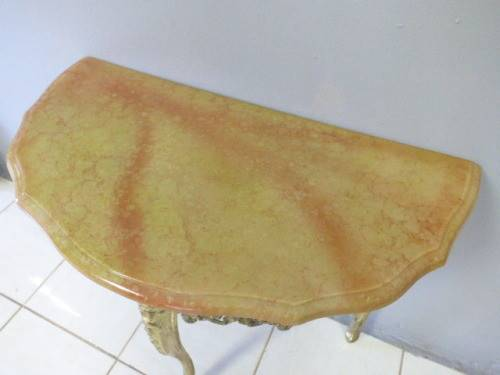 Gorgeous Solid Marble Brass Queen Anne Half Moon Table Fantastic