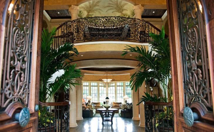 Grand Entrance Mediterranean Mansion House Wood Exotic Dark
