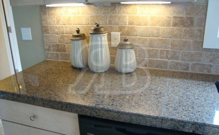 Granite Tile Countertops Without Grout Lines Desert Brown