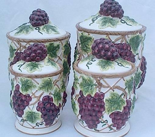 Grapes Kitchen Canisters Set Ceramic Fruit Theme Home Decor Ebay