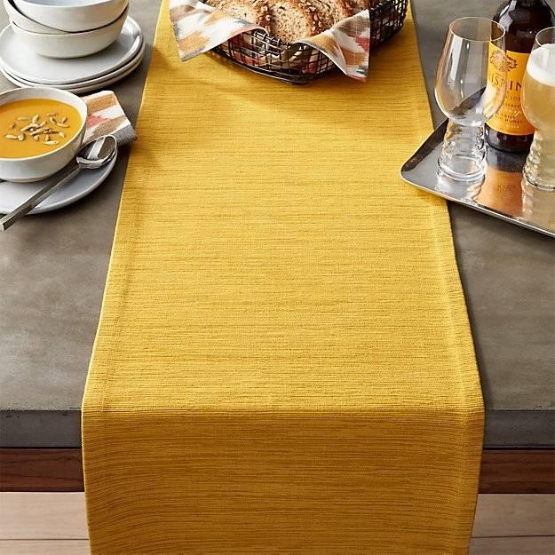 Grasscloth Mustard Table Runner Crate Barrel