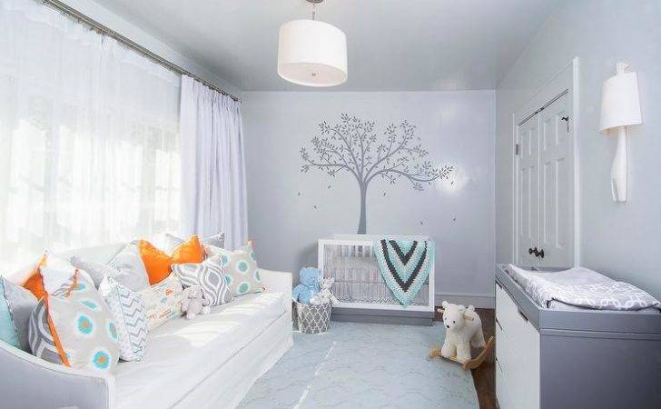 Gray Boy Nursery Slipcovered Daybed Contemporary