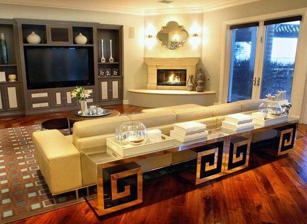 Gray Entertainment Center Living Room Corner Fireplace