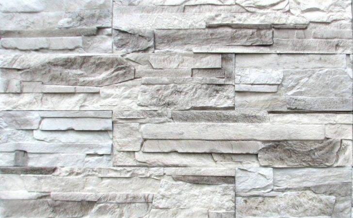 Gray Stacked Stone Fireplace White Grey