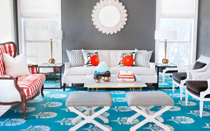 Gray Turquoise Living Room Contemporary