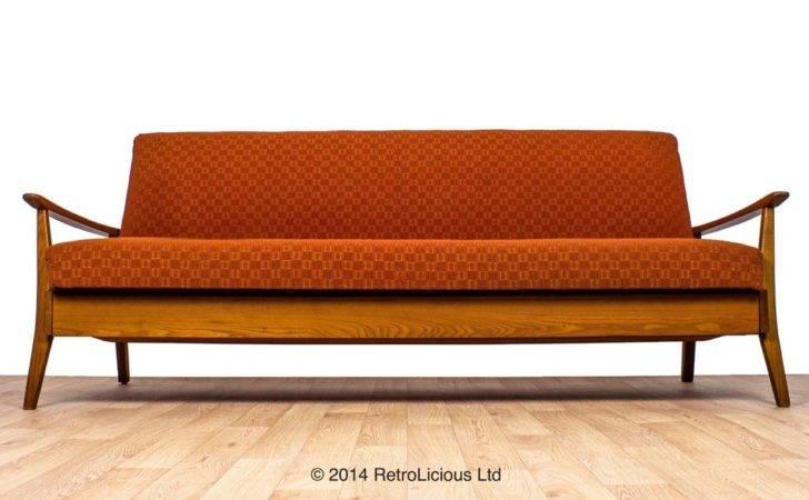 Greaves Thomas Funky Orange Plan Teak Danish Daybed Sofabed Retro