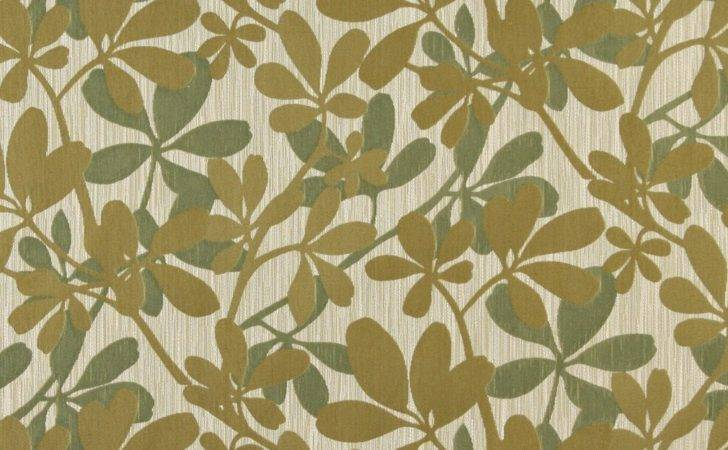 Green Abstract Leaves Contemporary Upholstery Fabric