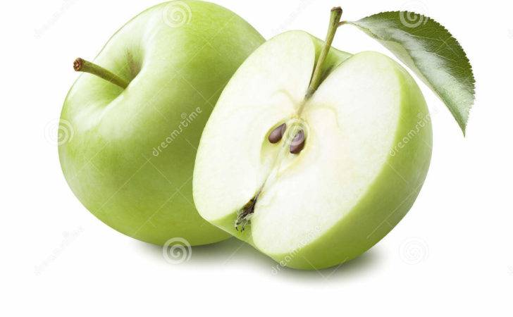 Green Apple Half Leaf Isolated White