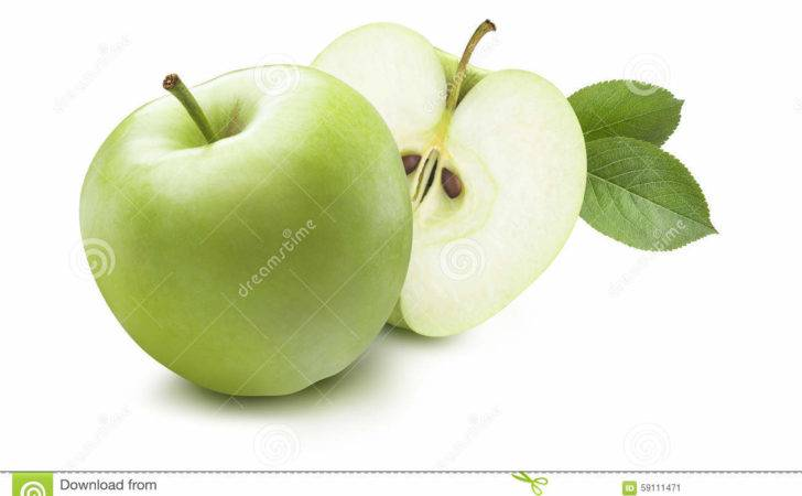 Green Apple Hidden Half Isolated White