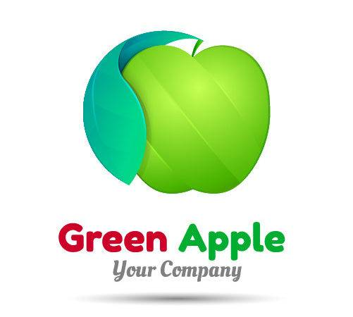 Green Apple Logo Design Vector Name