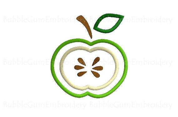 Green Apple Slice Applique Embroidery Design Instant