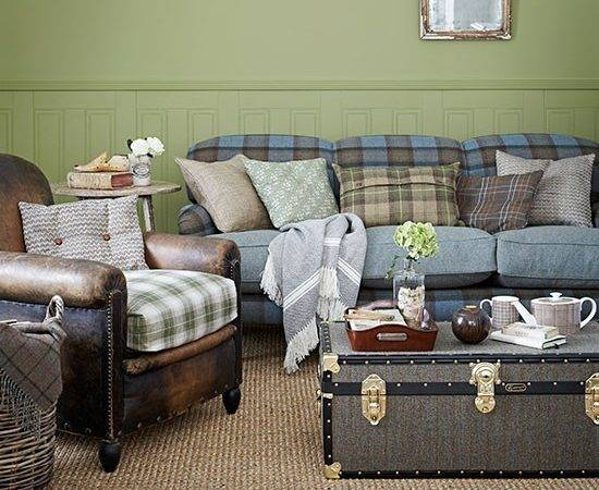 Green Blue Check Country Living Room Decorating