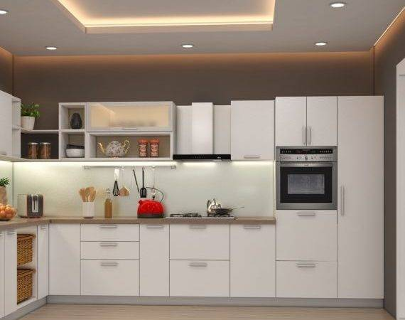 Green Contemporary Shaped Modular Kitchen Design Indian Homes