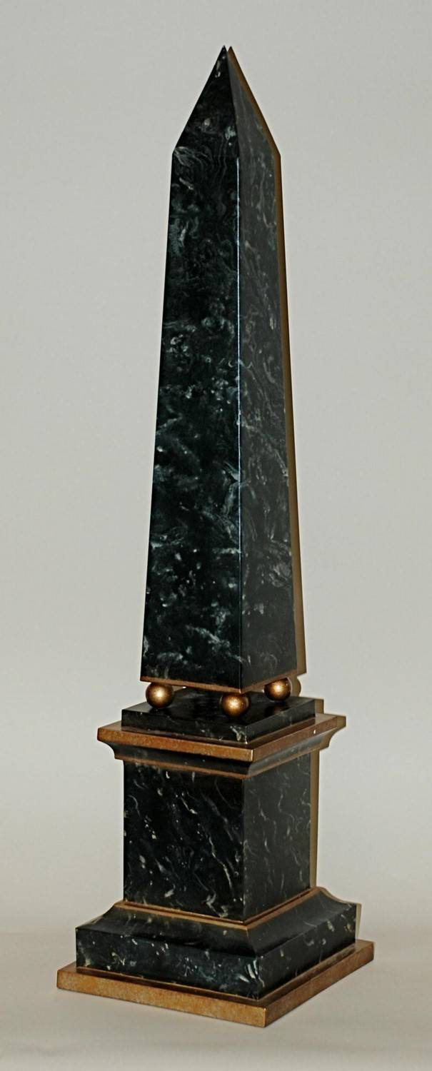 Green Faux Marble Obelisk Home Decor