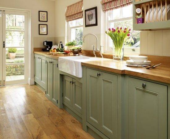 Green Painted Kitchen Galley Furniture Beautiful Kitchens Housetohome