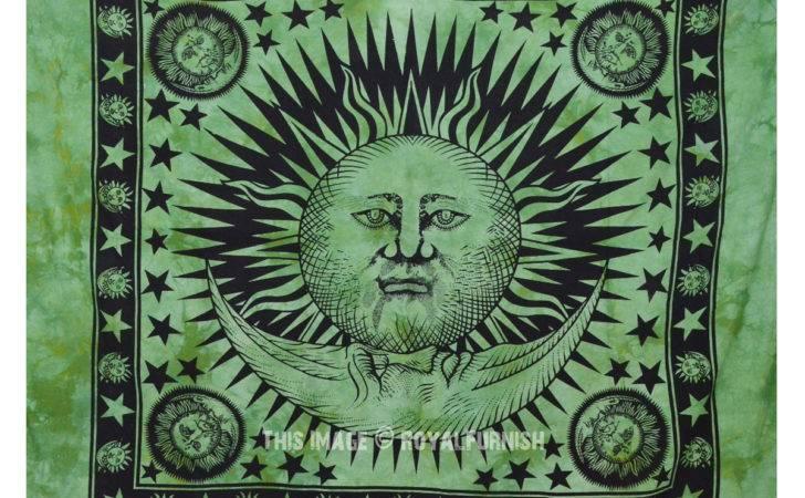 Green Tie Dye Hippie Sun Moon Stars Indian Tapestry Wall Hanging